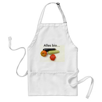 White apron with tomatoes, Zucchino and eggplant