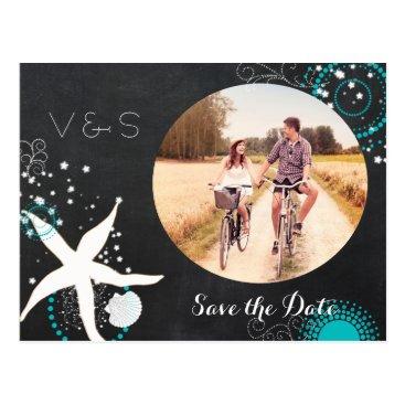 Beach Themed White, Aqua Beach Chalkboard Photo Save the Date Postcard