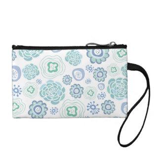 White & Aqua Designer Floral Wrist Bag! Change Purses