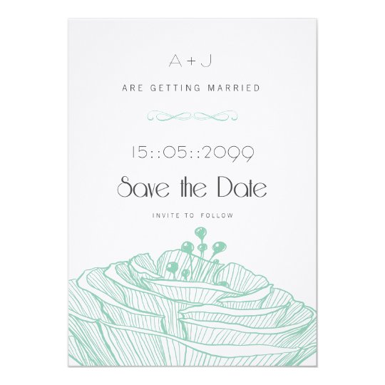 White & Aqua Flower Linen Minimalist Save the Date Card