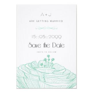 White & Aqua Flower Linen Minimalist Save the Date 5x7 Paper Invitation Card