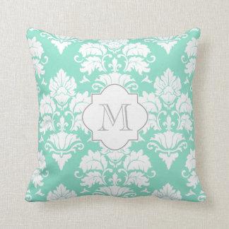 White & Aqua Frost Damask Monogrammed Pillow