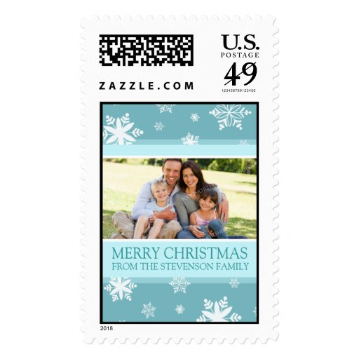White Aqua Merry Christmas Custom Name Photo Postage Stamps