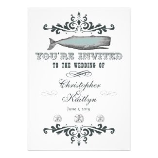 White Aqua Vintage Beach Whale Wedding Invitations