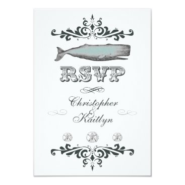 Beach Themed White Aqua Vintage Beach Whale Wedding RSVP Card
