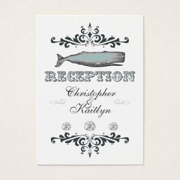 Beach Themed White Aqua Vintage Whale Wedding Reception Card