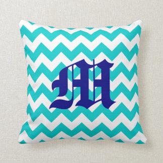 White Aqua Zigzag Pattern with Monogram Throw Pillow