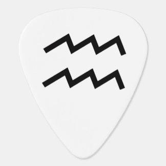 White Aquarius 2 Zodiac January 20 - February 18 Guitar Pick
