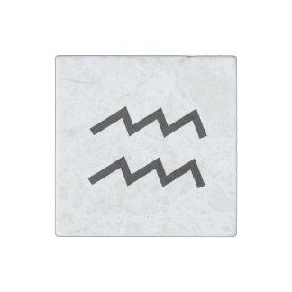 White Aquarius 2 Zodiac January 20 - February 18 Stone Magnet
