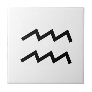White Aquarius 2 Zodiac January 20 - February 18 Tile