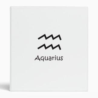 White Aquarius Zodiac January 20 - February 18 Binder