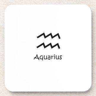 White Aquarius Zodiac January 20 - February 18 Drink Coaster