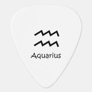 White Aquarius Zodiac January 20 - February 18 Guitar Pick