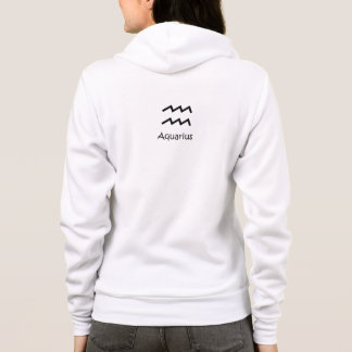 White Aquarius Zodiac January 20 - February 18 Hoodie