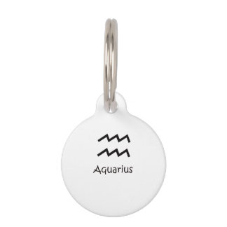 White Aquarius Zodiac January 20 - February 18 Pet Tag