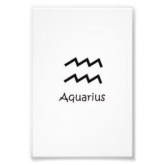 White Aquarius Zodiac January 20 - February 18 Photo Print