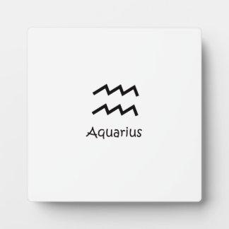 White Aquarius Zodiac January 20 - February 18 Plaque