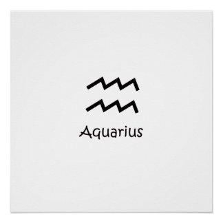 White Aquarius Zodiac January 20 - February 18 Poster