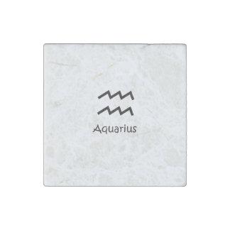 White Aquarius Zodiac January 20 - February 18 Stone Magnet