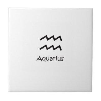 White Aquarius Zodiac January 20 - February 18 Tile