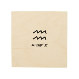 White Aquarius Zodiac January 20 - February 18 Wood Print
