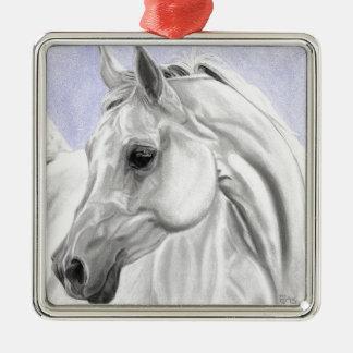 White Arabian Horse Original Art Metal Ornament