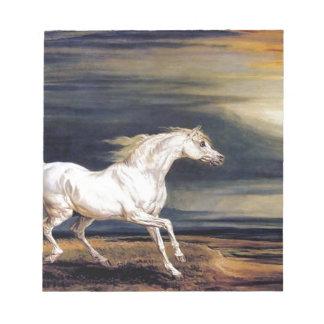 White Arabian Horse Painting Notepad