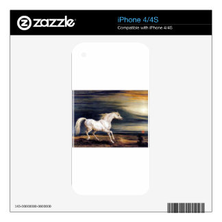 White Arabian Horse Painting Skin For The iPhone 4