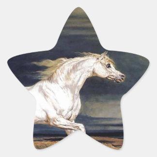 White Arabian Horse Painting Star Sticker
