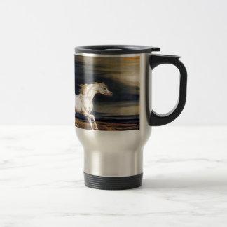 White Arabian Horse Painting Travel Mug