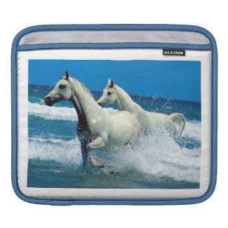 White Arabian Horses Ocean Rickshaw Sleeve