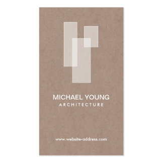 WHITE ARCHITECTURAL LOGO on Tan Craftboard Double-Sided Standard Business Cards (Pack Of 100)