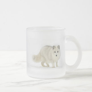 White Arctic Fox Frosted Glass Coffee Mug