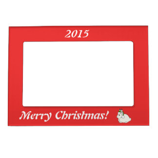 White Arctic Hare with Christmas Green Santa Hat Magnetic Photo Frame