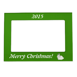 White Arctic Hare with Christmas Green Santa Hat Picture Frame Magnet