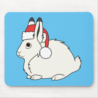 White Arctic Hare with Red Santa Hat Mouse Pad