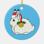 White Arctic Hare with Santa Hat & Gold Bell Ceramic Ornament