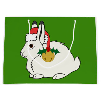 White Arctic Hare with Santa Hat & Gold Bell Large Gift Bag