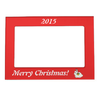 White Arctic Hare with Santa Hat & Gold Bell Magnetic Photo Frame