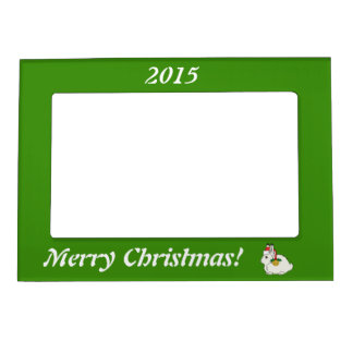 White Arctic Hare with Santa Hat & Gold Bell Photo Frame Magnets