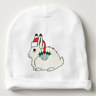 White Arctic Hare with Santa Hat & Silver Bell