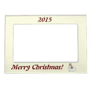 White Arctic Hare with Santa Hat & Silver Bell Magnetic Frame