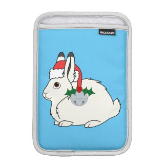 White Arctic Hare with Santa Hat & Silver Bell Sleeve For iPad Mini