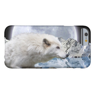 White Arctic Wolf And Moon Wildlife Art Barely There iPhone 6 Case