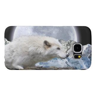 White Arctic Wolf And Moon Wildlife Art Samsung Galaxy S6 Case