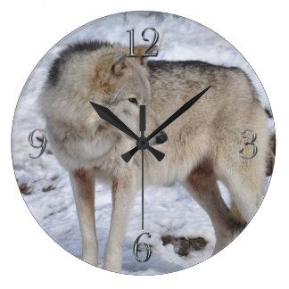 White Arctic Wolf and Snow Wildlife Art Clock