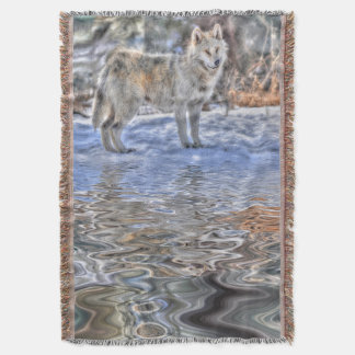 White Arctic Wolf (Grey Wolf) & Water Reflection Throw Blanket