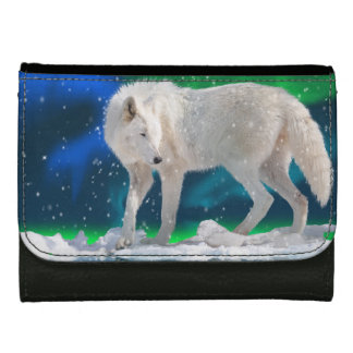 White Arctic Wolf & Northern Lights Wildlife Art Wallet