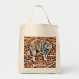 White Arctic Wolf & Wilderness Photo Gift Tote Bag