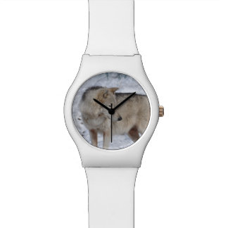 White Arctic Wolf Wildlife and Snow Gift Wrist Watch